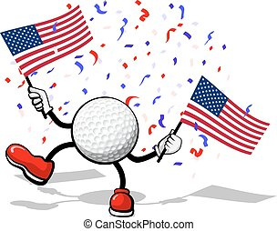 Golf USA Celebration - A golf ball with arms and legs waving...