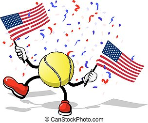Tennis USA Celebration - A tennis ball with arms and legs...