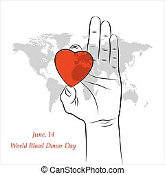 Red Heart in Hand over Grey World Map. Element for the World...