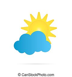 Vector sun and cloud icon. - Vector sun and cloud icon over...
