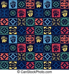 Navajo seamless colorful tribal pattern