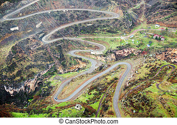 Mountain road in Armenia - Mountain road landscape in...