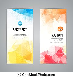 Set of colorful polygonal and triangular geometric banners...