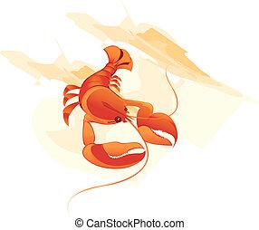 Shrimp - Illustration of a red shrimp