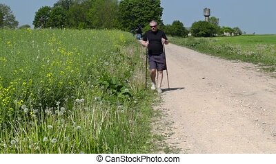 Hiker with walking sticks on the rural road in summer
