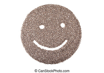 chia seeds or salvia hispanica in smile face isolated on...