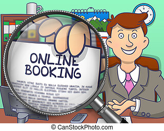Online Booking through Magnifying Glass. Doodle Style.