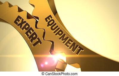 Golden Metallic Gears with Equipment Expert Concept - Golden...