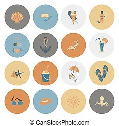 Summer and Beach Simple Flat Icons, Travel and Vacation...
