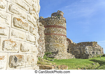 Ruined walls of Nessebar, Bulgaria. - Ruined walls and...