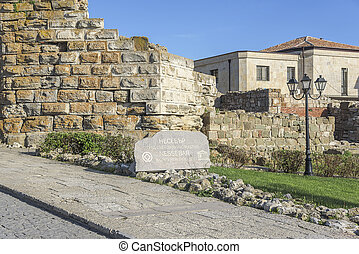 Ruined walls of Nessebar, Bulgaria - Ruined walls and tablet...