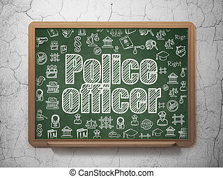 Law concept: Police Officer on School board background - Law...