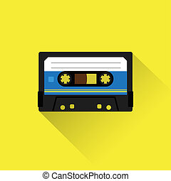 Tape cassette icon - Cassette tape icon flat style Isolated...