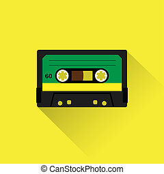 Cassette tape icon flat style. Isolated icon depicting retro...