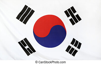 South Korea Flag real fabric seamless close up with wind...