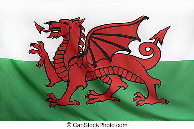Wales Flag real fabric seamless close up with wind waves