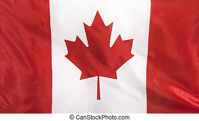Canada Flag real fabric seamless close up with wind waves