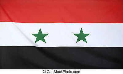 Syria Flag real fabric seamless close up with wind waves