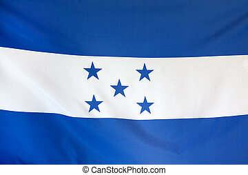 Honduras Flag real fabric seamless close up with wind waves