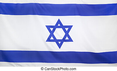 Israel Flag real fabric seamless close up with wind waves