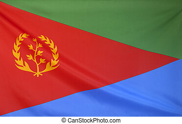 Eritrea Flag real fabric seamless close up with wind waves