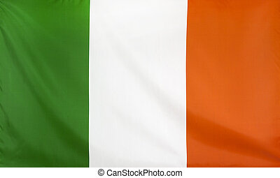 Republic of Ireland Flag real fabric seamless close up with...