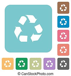 Flat recycling icons on rounded square color backgrounds
