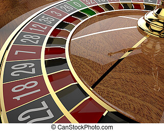 Casino roulette wheel close up 3D render