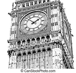 england aged city in london big ben and historical old...