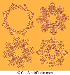 Henna tattoo floral doodle design elements. Arabic or Indian Vector Seamless Round Ornament Mandala, Round Paisley circle