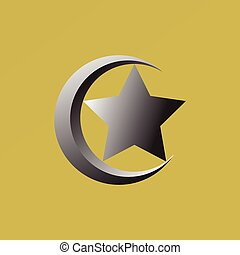 Star and crescent,Islam symbol