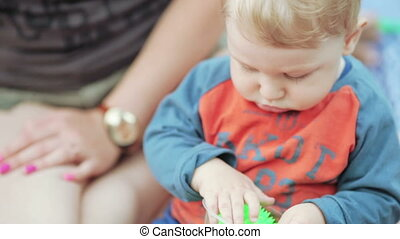 Baby on picnic summer - Nature baby boy on blanket looking...