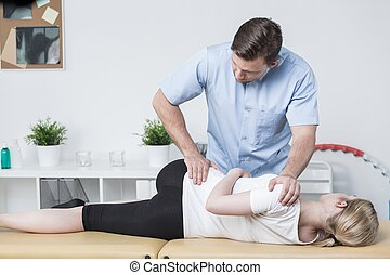 Woman at physical therapist