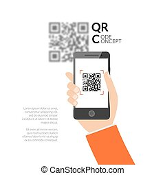 QR code scanning with mobile phone. Capture QR code on mobile phone. Symbol scanning QR code. Concept recognition QR code