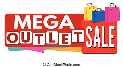 Mega outlet stamp - Mega outlet sale banner or label for...