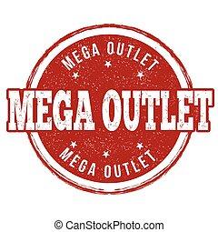 Mega outlet stamp - Mega outlet grunge rubber stamp on white...