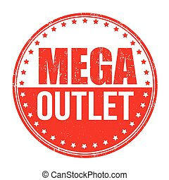 Mega outlet stamp - Mega outlet grunge rubber stamp on white...