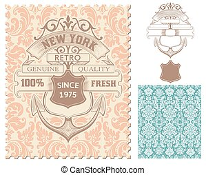 Retro stamp, Nautical design