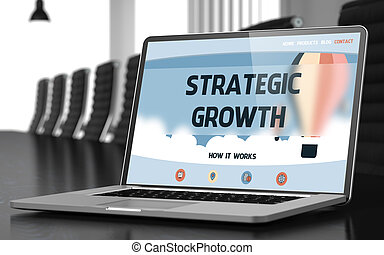 Strategic Growth Concept on Laptop Screen. - Modern...