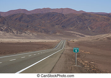 Pan American Highway - Route 5 through the Atacama Desert in...