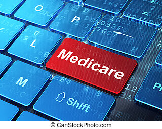 Health concept: Medicare on computer keyboard background -...