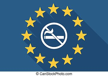 long shadow EU flag with a no smoking sign - Illustration of...