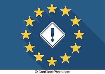 long shadow EU flag with   a warning road sign
