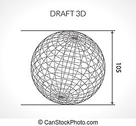 Hand-drawn scribble Sphere. Draft architect concept. Elements for design. Vector illustration.