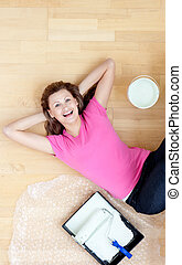 Happy woman have a break in her living-room