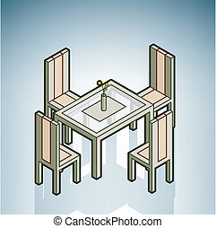 Dinner Table (part of the Modern Furniture Isometric 3D...