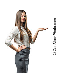 Cutout female model standing sideways raised her hand to...
