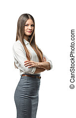 Cutout business woman with folded arms looks directly at the...