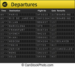 Airport timetable showing departure destinations Worldwide...