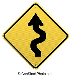 Winding road sign on white background
